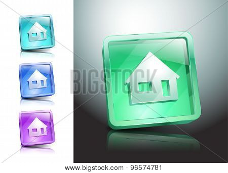 set glass icons house color home