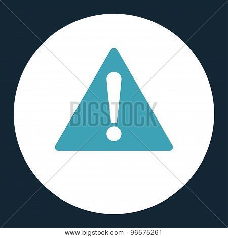 Warning flat blue and white colors round button