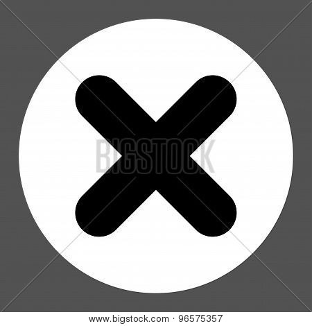 Cancel flat black and white colors round button