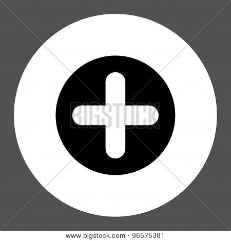 Create flat black and white colors round button