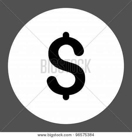 Dollar flat black and white colors round button