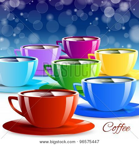 Different color paper cups isolated drink