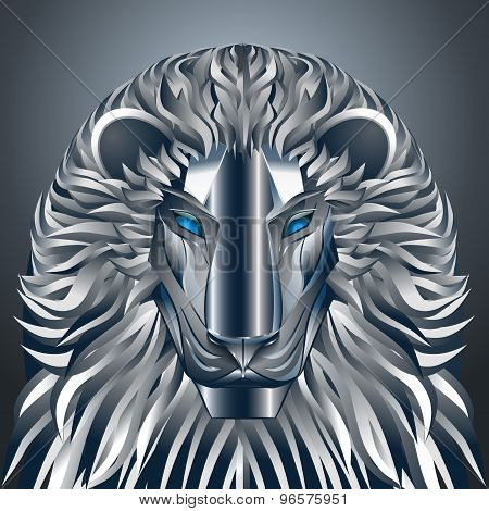 animals lion blue technology cyborg  metal robot