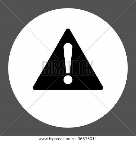 Warning flat black and white colors round button