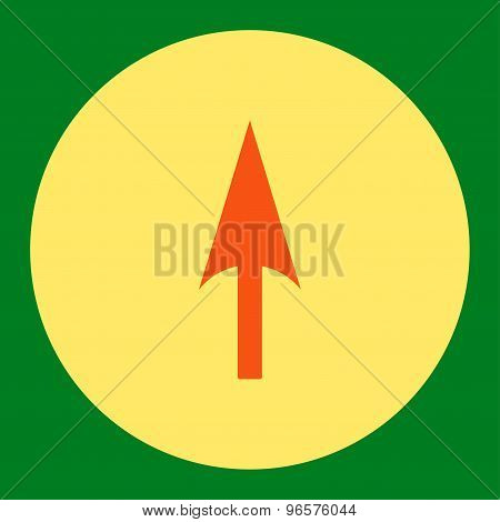 Arrow Axis Y flat orange and yellow colors round button