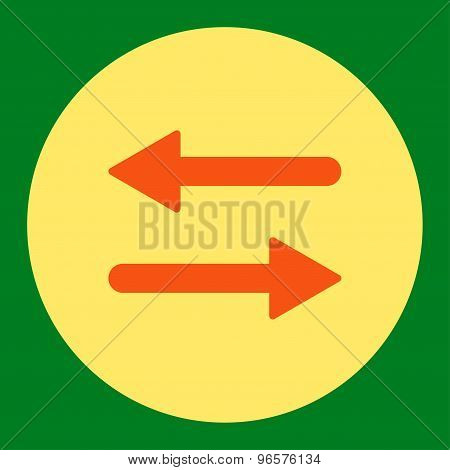 Arrows Exchange Horizontal flat orange and yellow colors round button