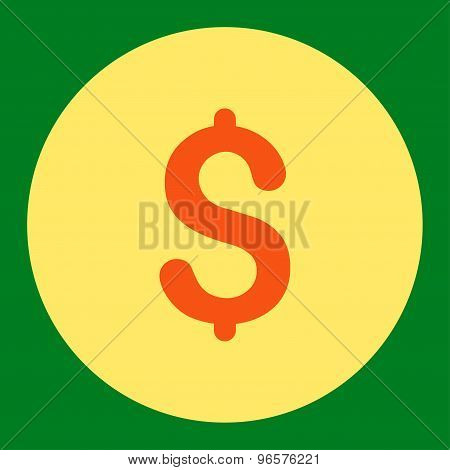 Dollar flat orange and yellow colors round button