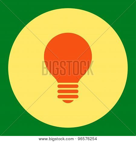 Electric Bulb flat orange and yellow colors round button