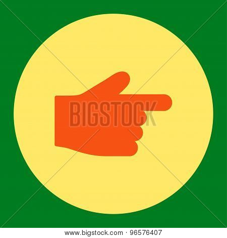 Index Finger flat orange and yellow colors round button