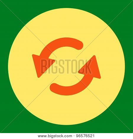 Refresh Ccw flat orange and yellow colors round button