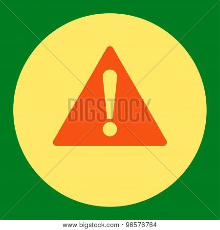 Warning flat orange and yellow colors round button