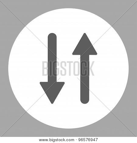 Arrows Exchange Vertical flat dark gray and white colors round button