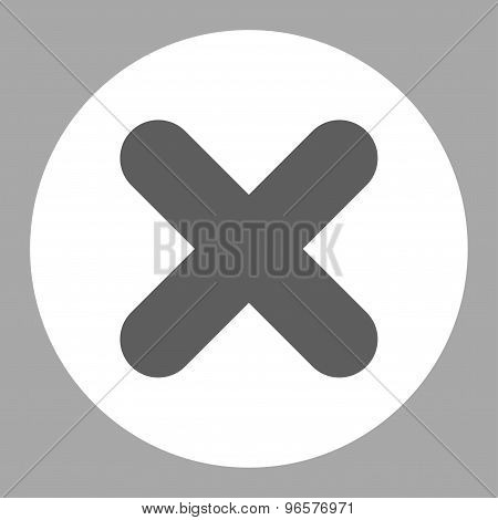Cancel flat dark gray and white colors round button