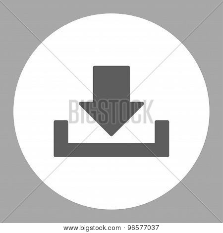 Download flat dark gray and white colors round button