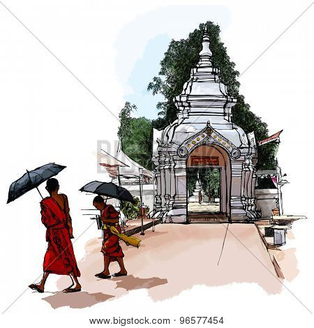 Buddhist Monks in Laos - Vector illustration