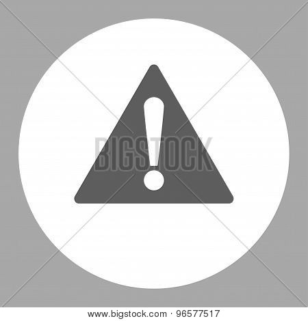 Warning flat dark gray and white colors round button