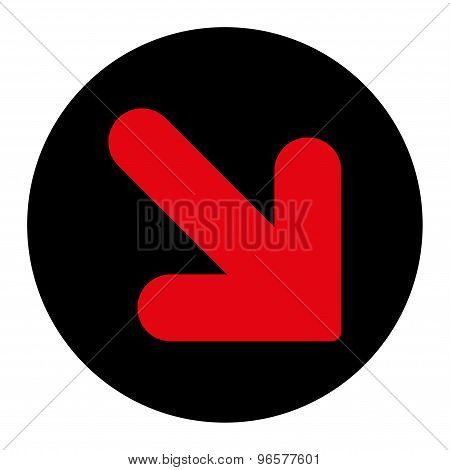 Arrow Down Right flat intensive red and black colors round button