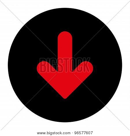 Arrow Down flat intensive red and black colors round button