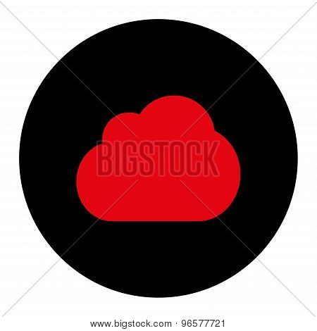 Cloud flat intensive red and black colors round button