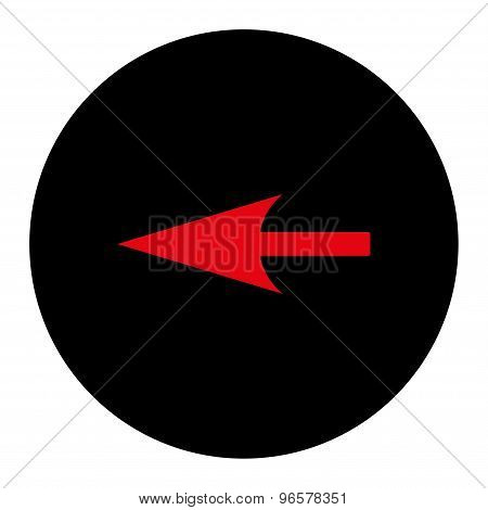 Sharp Left Arrow flat intensive red and black colors round button