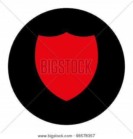 Shield flat intensive red and black colors round button