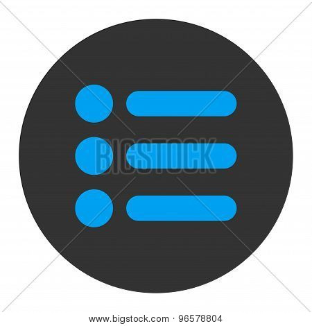 Items flat blue and gray colors round button