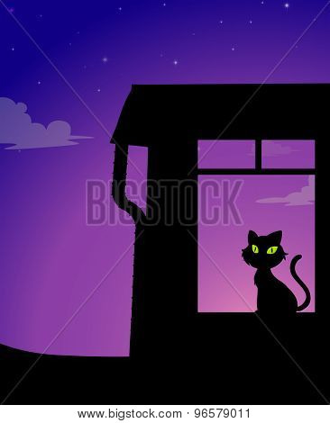Silhouette of a yellow eyes cat sitting in a room under purple blue sky