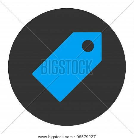 Tag flat blue and gray colors round button