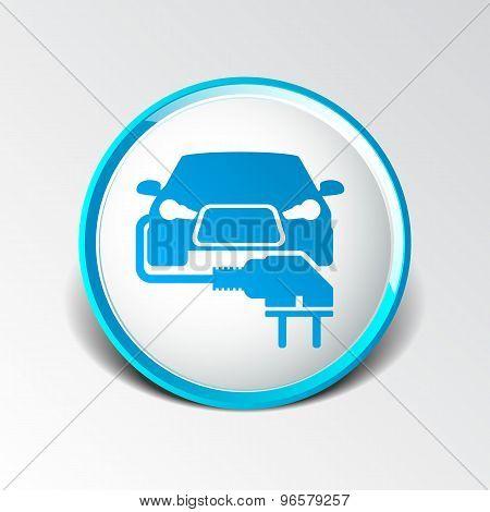 Electric car plug icon eco fuel vector