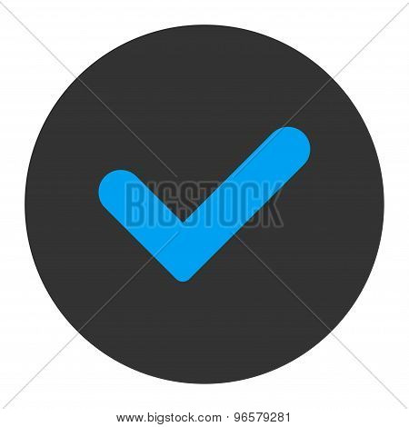 Yes flat blue and gray colors round button