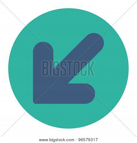 Arrow Down Left flat cobalt and cyan colors round button