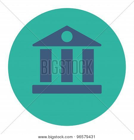Bank flat cobalt and cyan colors round button