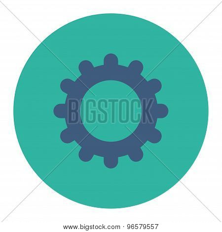Gear flat cobalt and cyan colors round button