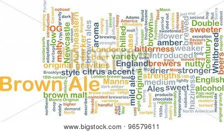Background concept wordcloud illustration of brown ale