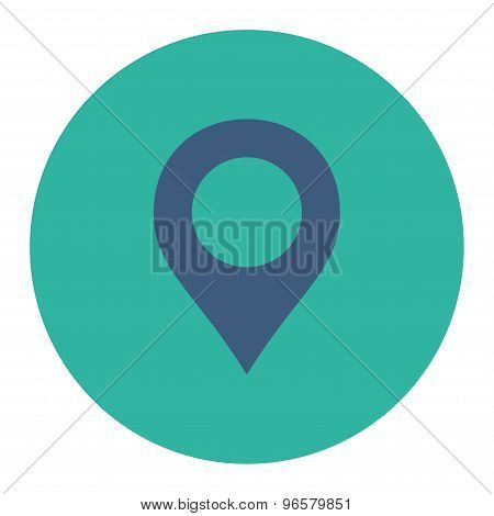 Map Marker flat cobalt and cyan colors round button