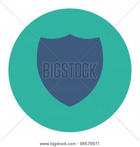 Shield flat cobalt and cyan colors round button