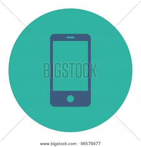 Smartphone flat cobalt and cyan colors round button