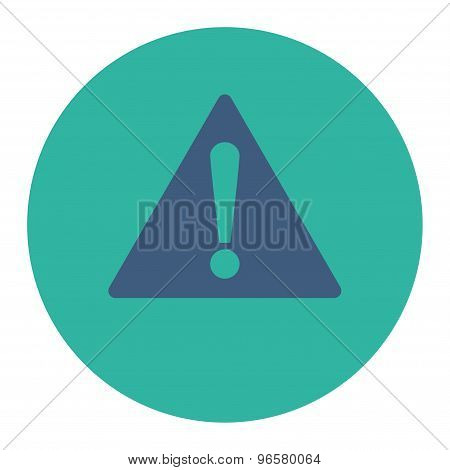 Warning flat cobalt and cyan colors round button