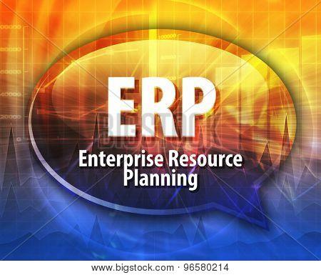 word speech bubble illustration of business acronym term ERP Enterprise Resource Planning
