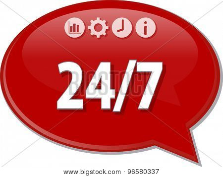 Speech bubble dialog illustration of business term saying 24/7 24 hours 7 days a week