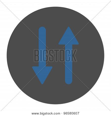 Arrows Exchange Vertical flat cobalt and gray colors round button