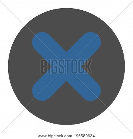 Cancel flat cobalt and gray colors round button