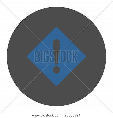Error flat cobalt and gray colors round button