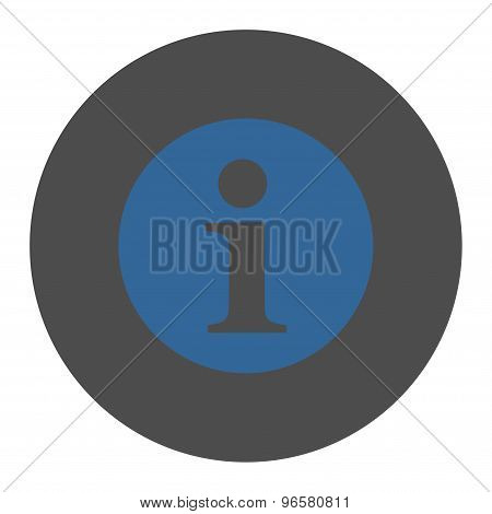 Information flat cobalt and gray colors round button