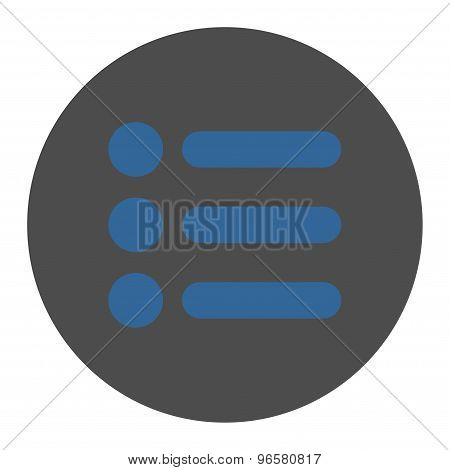 Items flat cobalt and gray colors round button
