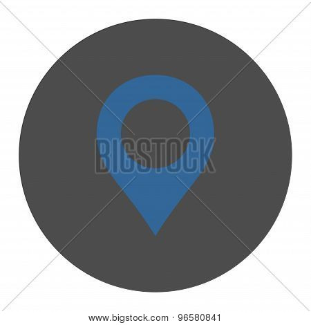 Map Marker flat cobalt and gray colors round button
