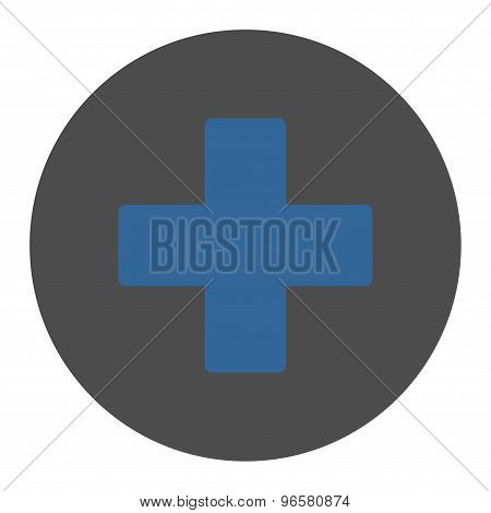 Plus flat cobalt and gray colors round button