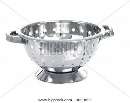 Chrome Colander Isolated On White Background