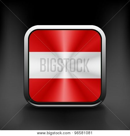 Austria waving flag national travel icon country symbol button