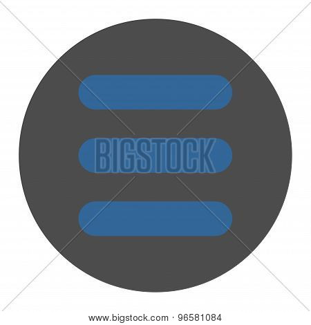 Stack flat cobalt and gray colors round button